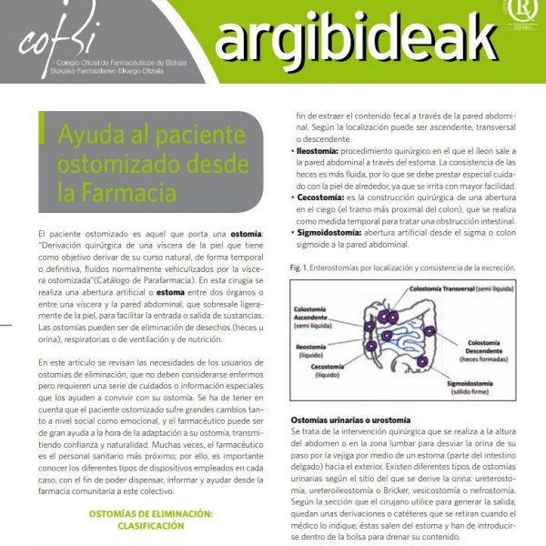 Publicación sobre las ostomias emitida por el Colegio de Farmacéuticos de Bizkaia, dentro de su revista ARGIBIDEAK